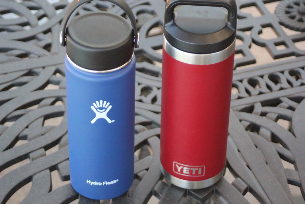 Hydro Flask and YETI side by side