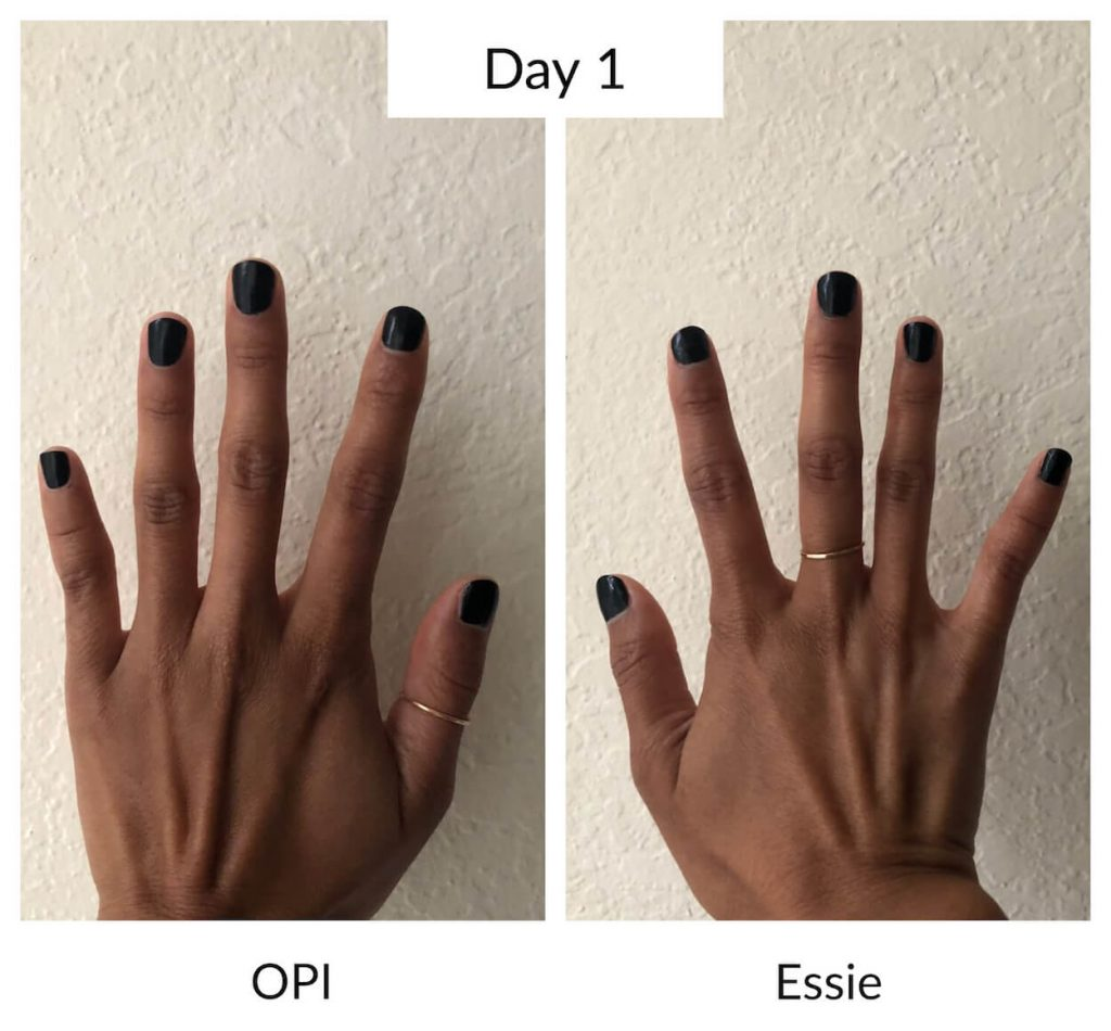 Essie vs OPI Day 1 Longevity Test