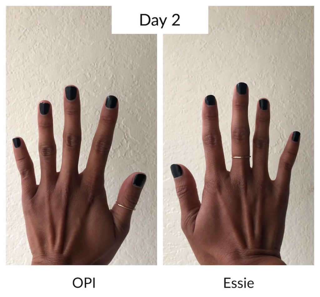 Essie vs OPI Day 2 Longevity Test