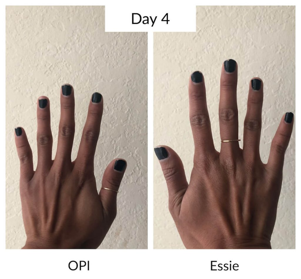 Essie vs OPI Day 4 Longevity Test