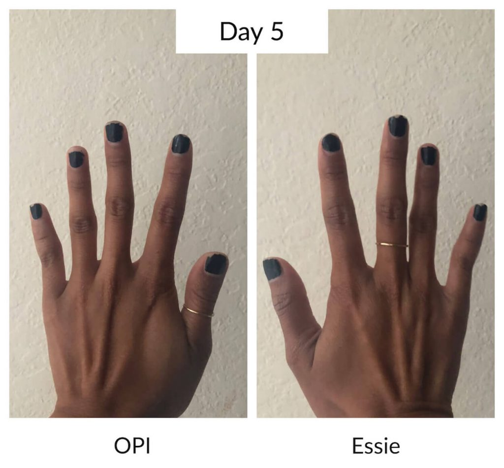 Essie vs OPI Day 5 Longevity Test