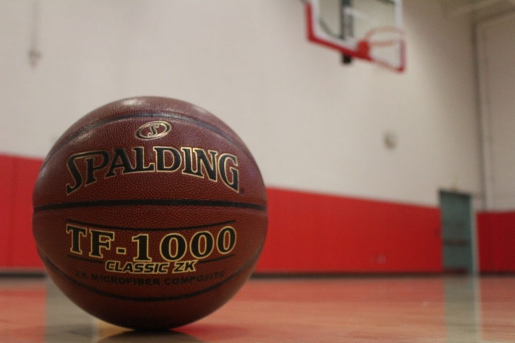 Spalding TF1000 Basketball in indoor gym