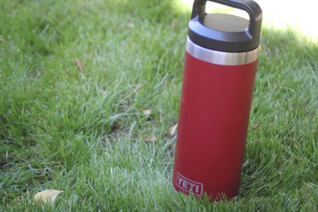 YETI Water Bottle in grass