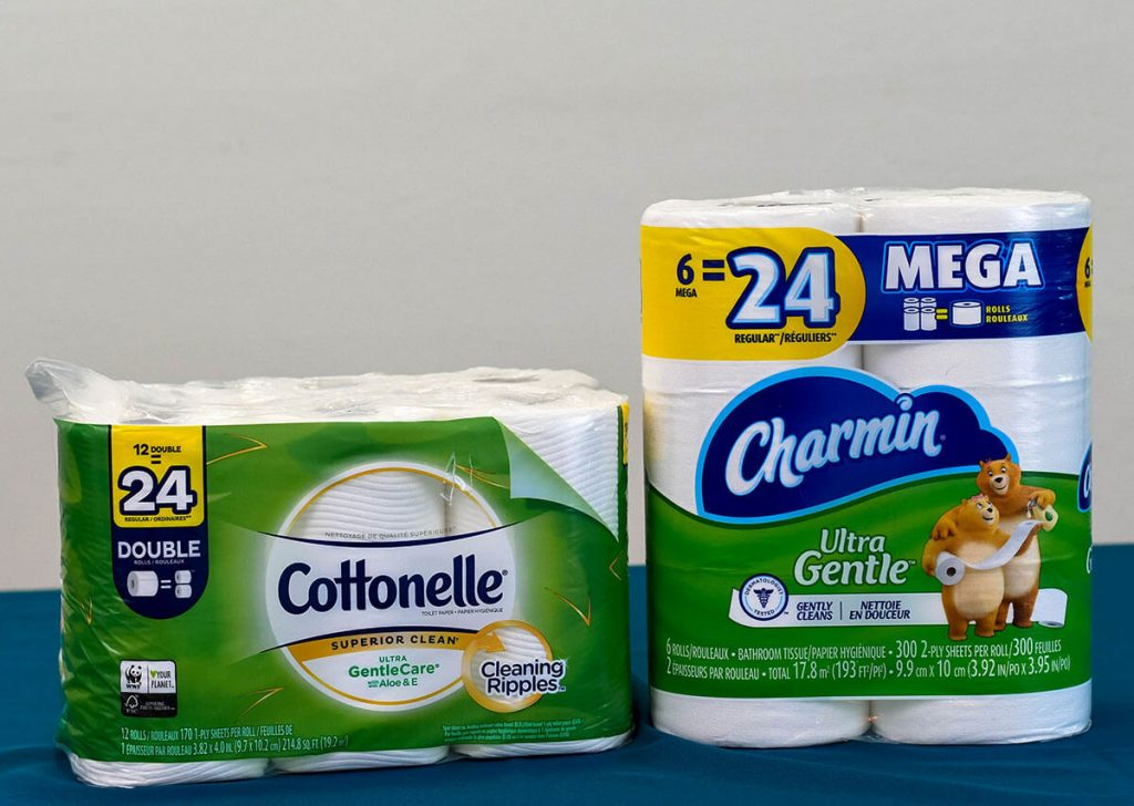 Charmin Ultra Gentle vs Cottonelle Ultra GentleCare side by side.