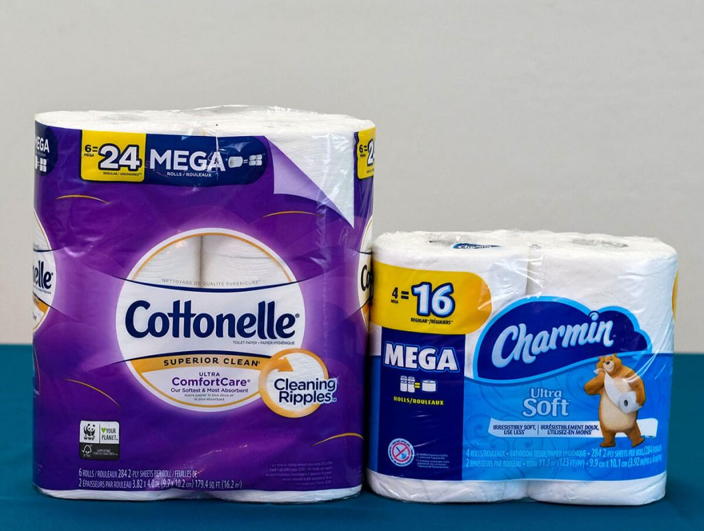 Charmin Ultra Soft vs Cottonelle Ultra ComfortCare side by side.