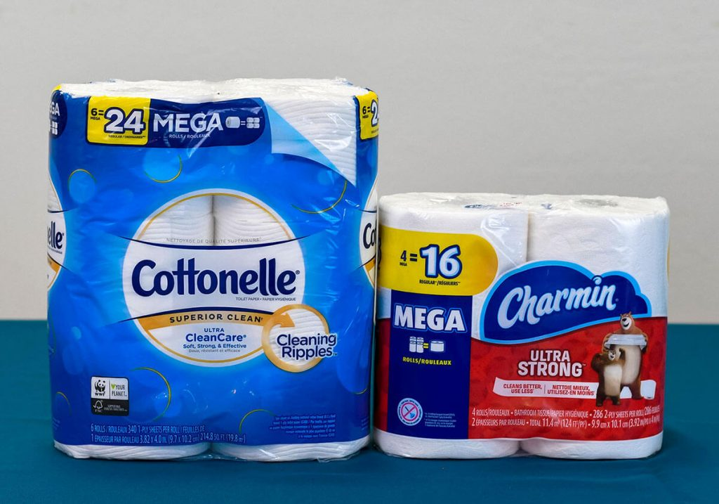 Charmin Ultra Strong vs Cottonelle Ultra CleanCare side by side.