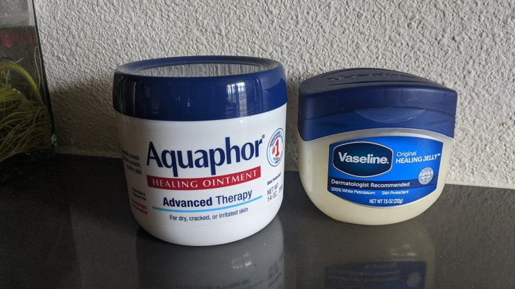 Aquaphor vs Vaseline healing ointments.