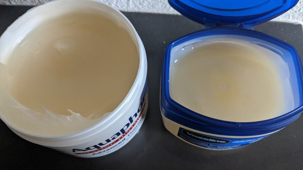 Aquaphor vs Vaseline testing image.