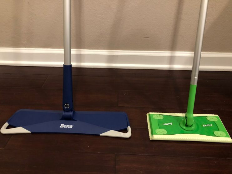 Bona vs Swiffer mop standing up