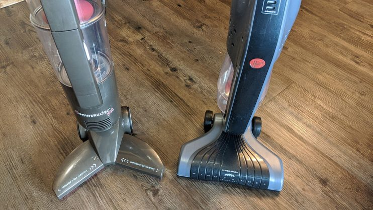 Hoover vs Bissell stick vacuums next to each other.