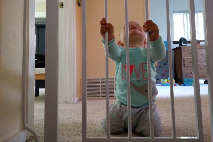Baby behind a baby gate.